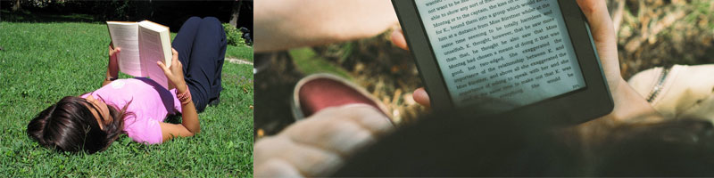 image of a girl reading a book and a hand holding a kindle