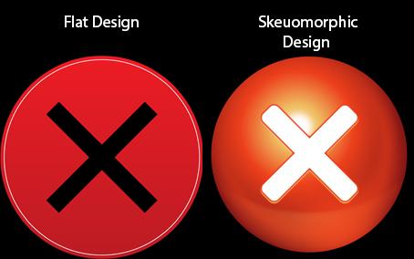 samples of flat and skeuomonic design