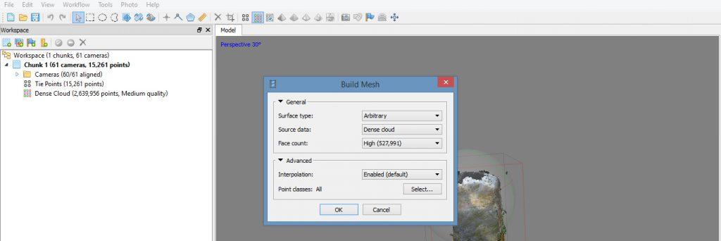 build mesh dialogue box