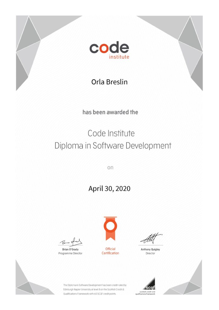 certificate from the code institute